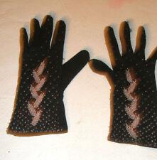 Vintage Ladies Fashion Gloves Beads Black