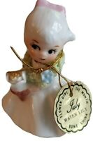 """Vtg Bone China Napco Flower Girl of the Month July Water Lilly Miniature 2"""" Tall"""