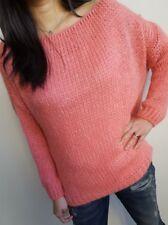 Strickpullover Wolle Mischgewebe Damen rosa one size