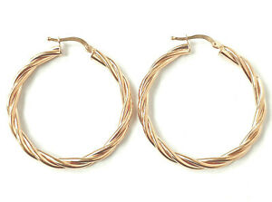 Ladies Twisted Hoop Earrings 9ct YELLOW Gold ROSE gold NEW 30mm 2.4g HALLMARKED