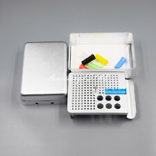180Holes Dental Endo Box FG Burs Holder Autoclave Disinfection Box +Ruler Silver