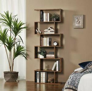 Rustic Bookcase S-Shape Shelving Unit 6 Tier Display Storage Shelf Retro Design!