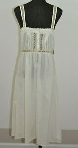 NWT Laura Ashley Shelby Prairie Cottage Off white Cotton Nightgown Lace M