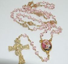 Mystical Rose Rosary Necklace Glass beads Pink Gold Rosario Rosa Mistica
