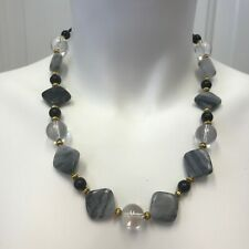 Gray Marble, Black Obsidian, and Clear Quartz Crystal Handmade Beaded Necklace