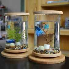 Fish Tank Glass Betta Bamboo Base Mini Rotating Clear Bowl Decoration Aquarium