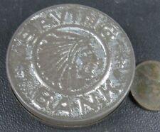 Antique 1900's Press Tin Bank Indian Head Penny Bank