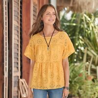 Sundance Amapola Top Size Small Yellow Eyelet Women's Short Sleeve Blouse Cotton
