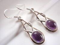 Amethyst Double Weaved Hoops 925 Sterling Silver Dangle Earrings