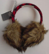 NWT Authentic Abercrombie Fitch Fur Earmuffs Red Blue Plaid Womens