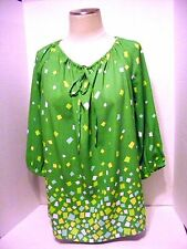 Women's Bob Mackie Wearable Art Pullover Top 3/4 Sleeves Size M  100% Polyester
