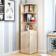 Wooden Corner Book Shelf Bookcase Drawer Cabinet Display Storage WHITE OAK