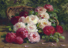 Roses French Provincial Painting C1920s Shabby Chic Flowers Canvas Print Large
