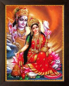 Synthetic Frame Acrylic Sheet Board Lord Vishnu with Goddess Lakshmi 30X23.5cm
