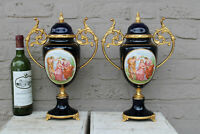 PAIR French limoges cobalt blue porcelain victorian scene lidded vases