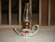 Vintage Genie Oil Lamp-Pink Rose Design-Boat Style Look-Glass Top
