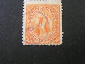 *EL SALVADOR, SCOTT # 143, 30c. VALUE ORANGE 1896 PEACE ISSUE USED