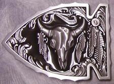 Pewter Belt Buckle animal Longhorn Steer Skull Arrow NEW