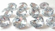 100 SILVER Chandelier Crystal Octagons 14mm Faceted Prisms Parts Beads Weddings