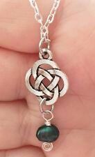 Outlander Antique Silver Celtic Knot Cross Pearl Scottish Irish Necklace Chain