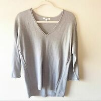 Madewell Gray 3/4 Sleeve V Neck Cotton Wool Blend Sweater Woman's Size S Small
