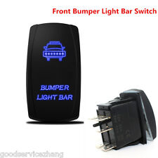 NEW Laser Rocker Switch Backlit Car Front Bumper Light Bar Blue 5Pins On-Off 20A