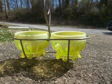 ANTIQUE OPALESCENT VASELINE GLASS MATCHING PAIR OF FOOTED CANDY BOWLS IN STAND
