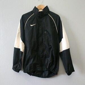 Nike Team Men's Medium Black White Full Zip Hidden Hoodie Rain Track Jacket