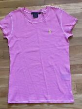 Ralph Lauren Sport Women's Pink & White Striped Short Sleeve Shirt - S