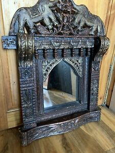 Temple Shaped Vintage Solid Wood Indian Mirror With Very Detailed Carvings