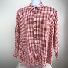 Alphorn Trachtenmode Mens Long Sleeve Button Front Casual Shirt Red White Check