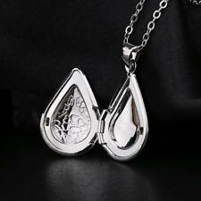1pc Hot Sale S925 Silver Waterdrop Box Photo Locket Charm Pendant Necklace Gift