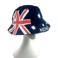 Adults Bucket Hat Australian Day Flag Brim Cricket Hat Souvenir Cotton