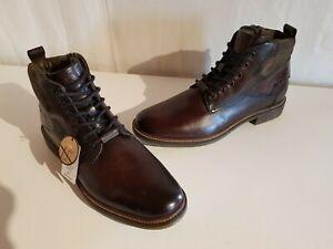 Bugatti Herren Leder Stiefeletten mit Reißverschluss dunkelbraun Größe 44 NEU