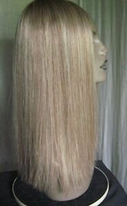 "100% Virgin Remy Human Hair Wiglet Topper blonde w/lt brown 19"" long NEW"