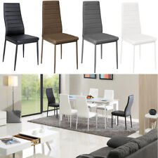 High Back White Grey Line Faux Leather Dining Chairs Metal Legs Cozy Foam Padded