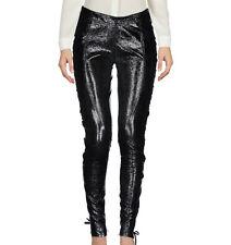 FAITH CONNEXION Black Crinkle Leather Corset Lace-Up Legging Pants 38 6