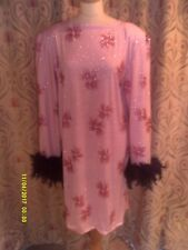 Drag Queen Pink/Pink glitter SHORT dress with Black feathers 20/22