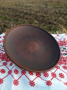 Handmade Clay Dinner Brown Round Plate Pasta Ceramic Dish Pottery Handcrafted
