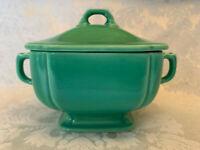 Vintage Homer Laughlin Riviera Covered Sugar Bowl Light Green