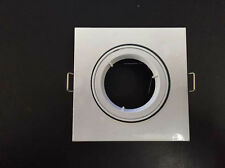 10 x Square White Recessed Downlight Holder Adjustable Frame for MR16 GU10 Bulb