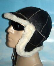 NEW men's Sheepskin Russian Ushanka Bomber Pilot Aviator Hat Real Leather siz XL