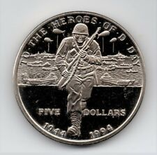 """1994 Marshall Islands """"Heroes Of D-Day"""" Five Dollar Coin"""