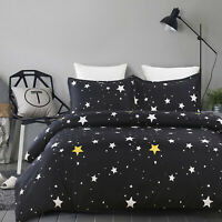Soft Microfiber Duvet Cover Set, Printed Starry Sky Pattern, Black Queen Size