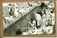 Postcard Mexico ? Women Children Washing Clothes Laundry Real Photo RPPC 2416N