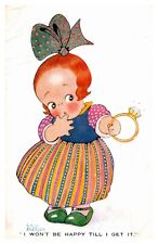 Chloe Preston Little Girl with Engagement Ring Big Bow 866 Vintage Postcard S12