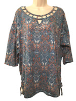 Erika Women's Blouse Plus Size 2X 1/2 Sleeve Pullover Top
