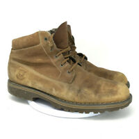 Timberland Mens Brown Genuine Leather Boots Round Toe Lace Up Ankle Size 12 M