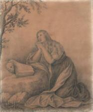 AFTER OLD MASTER - PRAYING FEMALE - Antique Pencil Drawing c1815