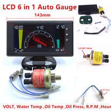LCD Digital 6 in1 Car Auto Meter LED Oil Pressure Water Temp Gauge Multipurpose